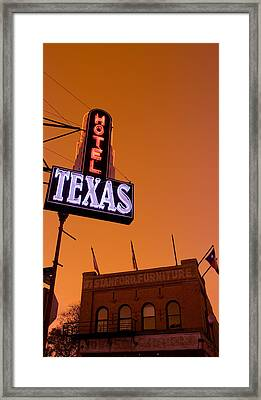 Low Angle View Of A Neon Sign Framed Print by Panoramic Images