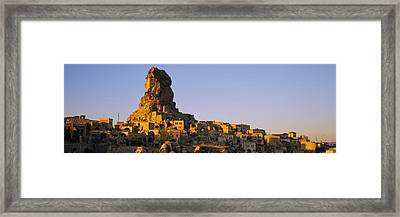Low Angle View Of A Rock Formation Framed Print