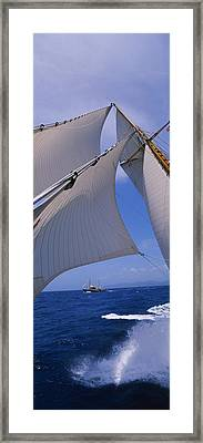 Low Angle View Of A Sailboats Mast Framed Print by Panoramic Images