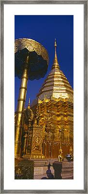 Low Angle View Of A Temple, Wat Framed Print