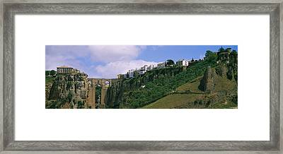 Low Angle View Of A Town, Tajo Bridge Framed Print by Panoramic Images