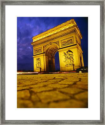 Low Angle View Of A Triumphal Arch, Arc Framed Print