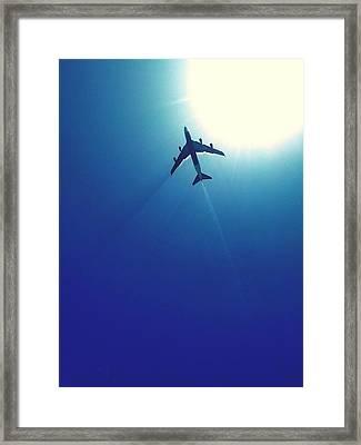 Low Angle View Of Airplane In Flight Framed Print by Karla Peña / Eyeem