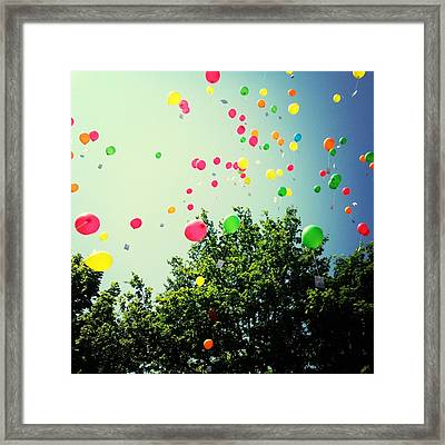 Low Angle View Of Balloons Framed Print by Christin Borbe / Eyeem