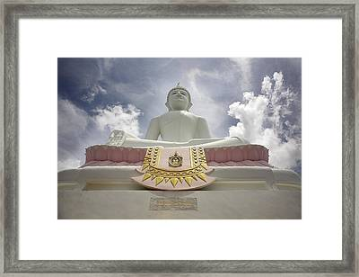 Low Angle View Of Buddha And Temple Framed Print by Chris Upton