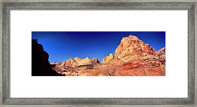 Low Angle View Of Cliff In Capitol Reef Framed Print by Panoramic Images