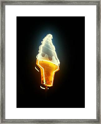 Low Angle View Of Ice Cream Neon Sign Framed Print by Scott Crayne / Eyeem