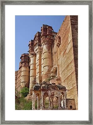 Low Angle View Of Mehrangarh Fort / Framed Print by Adam Jones