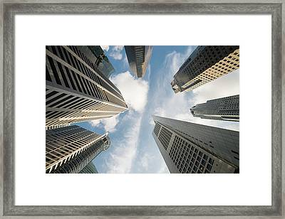 Low Angle View Of Modern Office Framed Print by Thant Zaw Wai