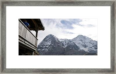 Low Angle View Of Mt Eiger And Mt Framed Print