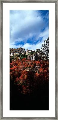 Low Angle View Of Roubion Village Framed Print by Panoramic Images
