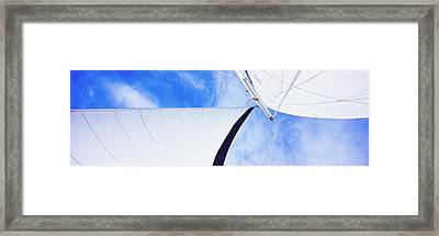 Low Angle View Of Sails On A Sailboat Framed Print