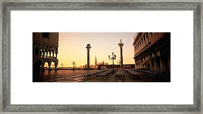 Low Angle View Of Sculptures In Front Framed Print