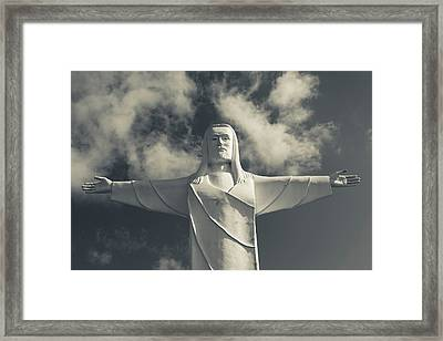 Low Angle View Of Statue Of Christ Framed Print