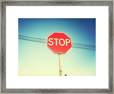 Low Angle View Of Stop Sign Framed Print by Pedro Venâncio / Eyeem