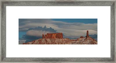Low Angle View Of The Castleton Tower Framed Print by Panoramic Images