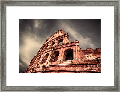 Low Angle View Of The Roman Colosseum Framed Print