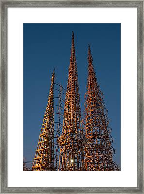 Low Angle View Of The Watts Tower Framed Print by Panoramic Images