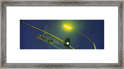 Low Angle View Of Traffic Light Framed Print by Panoramic Images