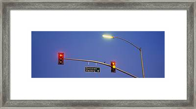 Low Angle View Of Traffic Lights Framed Print by Panoramic Images