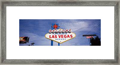 Low Angle View Of Welcome Sign, Las Framed Print