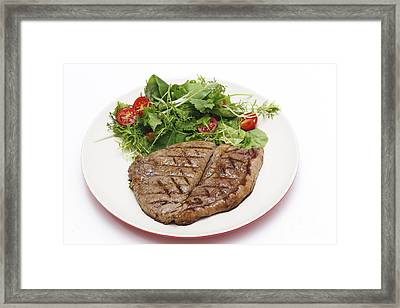 Low Carb Steak And Salad Framed Print by Paul Cowan
