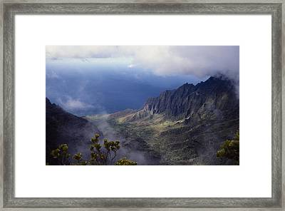 Low Clouds Over A Na Pali Coast Valley Framed Print by Stuart Litoff