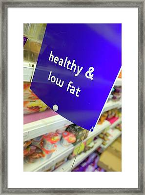 Low Fat Food In A Supermarket Framed Print by Ashley Cooper