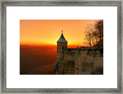 Low Sun On The Fortress Koenigstein Framed Print