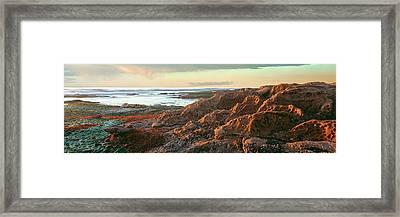 Low Tide At Coast During Sunset Framed Print