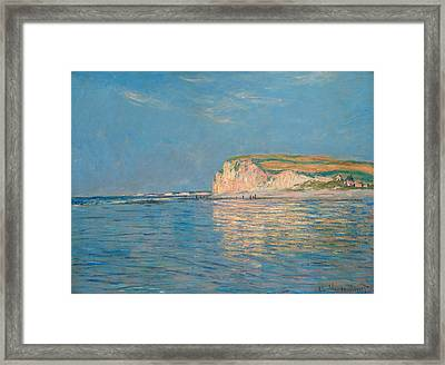 Low Tide At Pourville Framed Print by Claude Monet