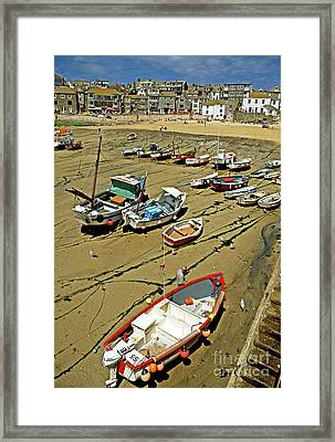 Low Tide At St Ives Cornwall Uk 1990 Framed Print by David Davies