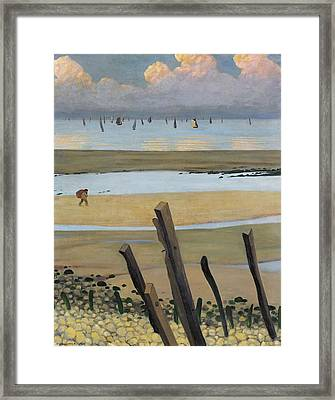 Low Tide At Villerville Framed Print by Felix Edouard Vallotton