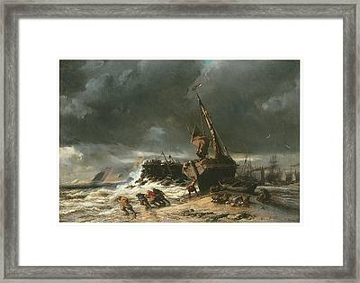 Low Tide Framed Print by Eugene Isabey