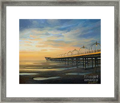Low Tide In Southport Framed Print by Kiril Stanchev