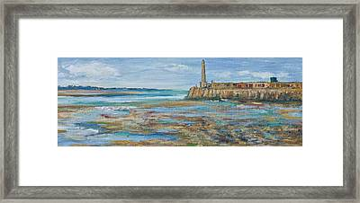 Low Tide In The Harbour. Framed Print