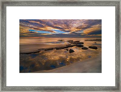 Low Tide Reflections Framed Print by Larry Marshall