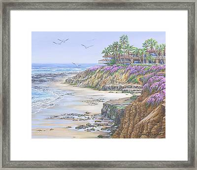 Framed Print featuring the painting Low Tide Solana Beach by Jane Girardot