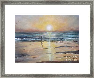 Low Tide Sunset. Southern California  Framed Print by Linea App