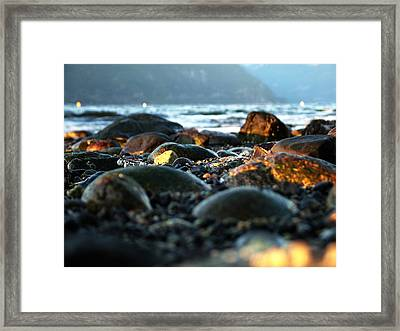 Low Tide Winter Sunset Framed Print