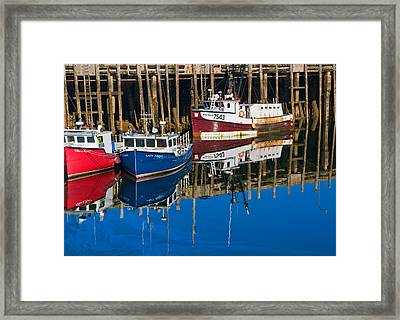 Boats And Reflections At Low Tide On Digby Bay Nova Scotia Framed Print