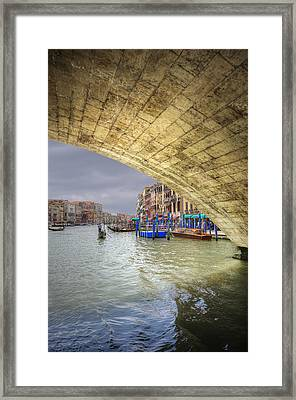 Low View Through Rialto Bridge Along Grand Canal Venice Italy Framed Print