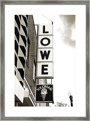 Lowe Drug Store Sign Bw Framed Print by Andee Design