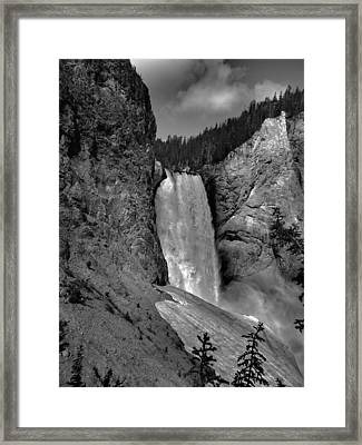Lower Falls In Yellowstone In Black And White Framed Print by Dan Sproul