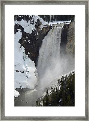 Lower Falls Of The Yellowstone In Spring Framed Print by Bruce Gourley