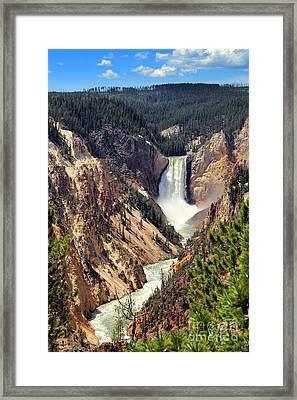 Framed Print featuring the photograph Lower Falls Of Yellowstone by Jemmy Archer