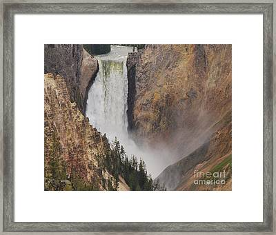 Framed Print featuring the photograph Lower Falls - Yellowstone by Mary Carol Story