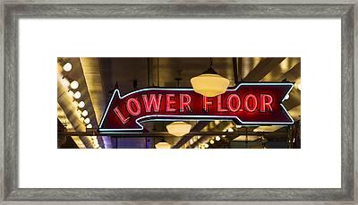 Lower Floor Arrow To The Left Framed Print