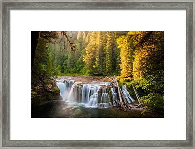 Lower Lewis River Falls Sunrise Framed Print