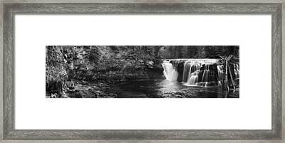 Lower Lewis River Waterfall Panorama - Black And White Framed Print